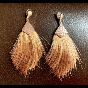 NWT - ITS Burnished Hammered Gold Tassel Earrings
